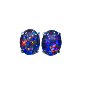 CONFETTI EXPLOSION STERLING SILVER AUSTRALIAN NATURAL BLACK OPAL STUD EARRINGS