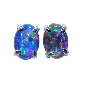 FLECKED CONFETTI STERLING SILVER AUSTRALIAN NATURAL BLACK OPAL STUD EARRINGS