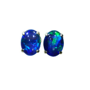 BOLD RAINBOW 18KT GOLD PLATED AUSTRALIAN NATURAL BLACK OPAL STUD EARRINGS