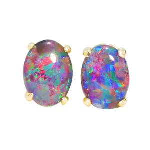 A BRIGHT CONFETTI DELIGHT 18KT GOLD PLATED NATURAL BLACK OPAL AUSTRALIAN OPAL STUD EARRINGS