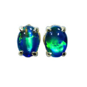 BLUE GLOW 18KT GOLD PLATED NATURAL AUSTRALLIAN BLACK OPAL STUD EARRINGS