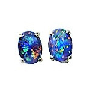 GLOWING DELIGHT 18KT GOLD PLATED NATURAL BLACK OPAL AUSTRALIAN OPAL STUD EARRINGS