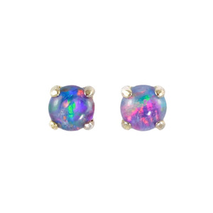 TRI COLOR RAINBOW 18KT GOLD PLATED NATURAL BLACK OPAL AUSTRALIAN OPAL STUD EARRINGS