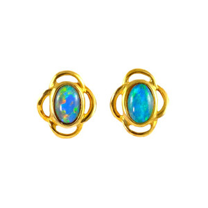 HOOPED LOVE 18KT GOLD PLATED NATURAL BLACK OPAL AUSTRALIAN OPAL STUD EARRINGS