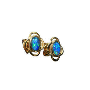 BLUE WAVES 18KT GOLD PLATED BLACK OPAL AUSTRALIAN NATURAL OPAL STUD EARRINGS