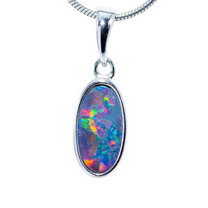 HOLOGRAM RAINBOW STERLING SILVER FIRE AUSTRALIAN BLACK OPAL NECKLACE