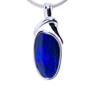 PURPLE GAURDIAN STERLING SILVER FIRE AUSTRALIAN BLACK OPAL NECKLACE