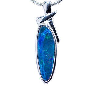 LIGHTNING FORCE STERLING SILVER FIRE AUSTRALIAN BLACK OPAL NECKLACE
