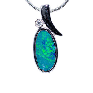 AQUA MARINE STERLING SILVER FIRE AUSTRALIAN BLACK OPAL NECKLACE