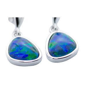 ENCHANTED DEEP OCEAN STERING SILVER AUSTRALIAN BLACK OPAL EARRINGS