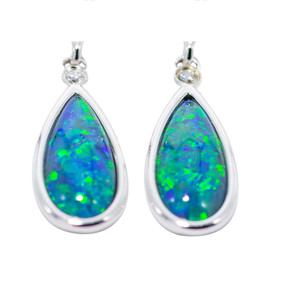 WATERWORLD DEEP DROPS STERING SILVER AUSTRALIAN BLACK OPAL EARRINGS