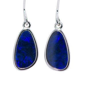 PURPLE EXTASY STERING SILVER AUSTRALIAN BLACK OPAL EARRINGS