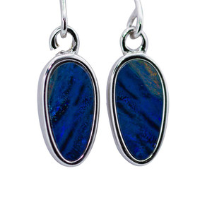 PURPLE STREAM STERING SILVER AUSTRALIAN BLACK OPAL EARRINGS