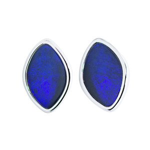 PURPLE DIAMOND BLACK OPAL STUD EARRINGS