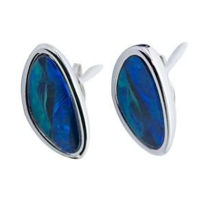 DELICATE PATH STERING SILVER AUSTRALIAN BLACK OPAL EARRINGS