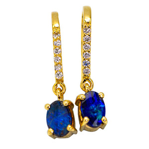 SKY DIAMOND AUSTRALIAN BLACK OPAL GOLD EARRINGS