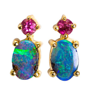 AQUA MARINE PRINCESS AUSTRALIAN OPAL & TOURMALINE GOLD EARRINGS