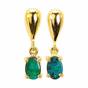 SOLID GREEN BRILLIANCE AUSTRALIAN OPAL GOLD EARRINGS