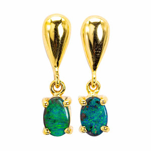 SOLID GREEN BRILLIANCE AUSTRALIAN OPAL GOLD EARRINGS