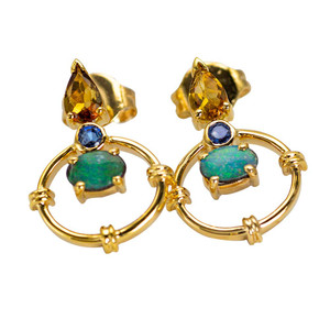 AERIAL FLIGHT9KT GOLD AUSTRALIAN OPAL CITRINE & SAPPHIRE EARRINGS