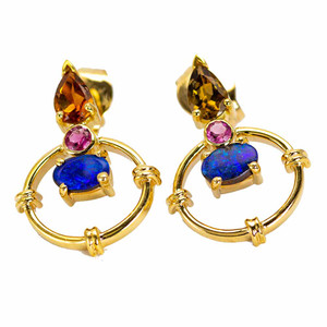 ELECTRIC CASTLE 9KT GOLD PINK TOURMALINE & CITRINE AUSTRALIAN OPAL EARRINGS