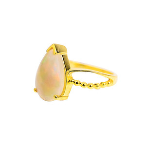 ABUNDANT LOVE NATURAL AUSTRALIAN WHITE OPAL GOLD RING