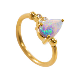 DELICATE BRILLIANCE NATURAL AUSTRALIAN WHITE OPAL GOLD AND DIAMOND RING