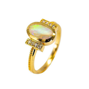 DIAMOND GREEN GARDEN NATURAL AUSTRALIAN WHITE OPAL GOLD AND DIAMOND RING