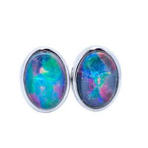 Black Opal Stud Earrings