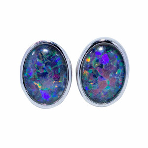 SUPERNOVA SURPRISE STERLING SILVER AUSTRALIAN BLACK OPAL STUD EARRINGS