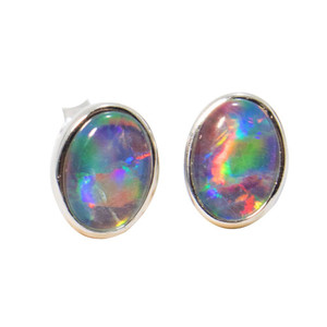 RASBERRY RAINBOW STERLING SILVER AUSTRALIAN BLACK OPAL STUD EARRINGS