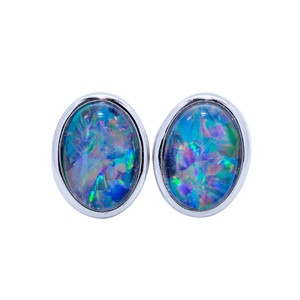 Black Opal Stud Earrings