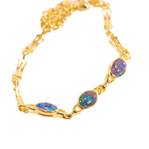 RAINBOW FLASH 3 TIER 18kt GOLD PLATED GENUINE OPAL BRACELET