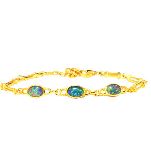 ETERNAL BLISS 18kt GOLD PLATED GENUINE AUSTRALIAN OPAL BRACELET