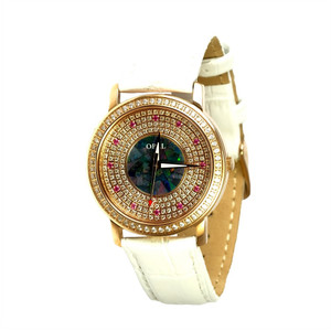 AMAZING ROSE 18KT ROSE GOLD PLATED AUSTRALIAN OPAL WATCH