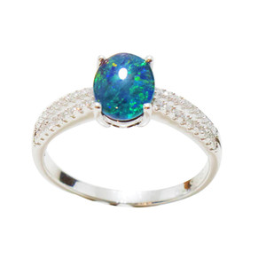 BRIGHT LAGOON STERLING SILVER AUSTRALIAN BLACK OPAL RING