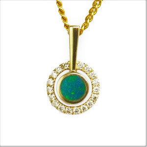 BRIGHT EARTH'S NATURE DROP 14KT GOLD & DIAMOND NATURAL SOLID AUSTRALIAN OPAL NECKLACE