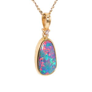 BRIGHT MOUNTAIN FLASH 14KT GOLD & DIAMOND NATURAL AUSTRALIAN OPAL NECKLACE