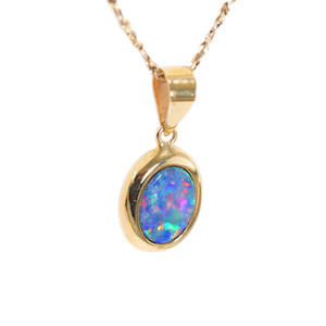 TRUE MAGESTY 9KT YELLOW GOLD NATURAL AUSTRALIAN OPAL NECKLACE