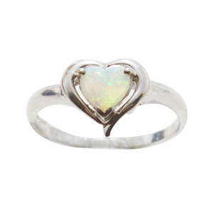 LOVE DOME STERLING SILVER AUSTRALIAN WHITE OPAL RING