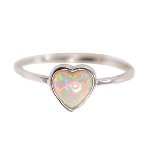 LOVE DEDICATED DROP STERLING SILVER AUSTRALIAN WHITE OPAL RING
