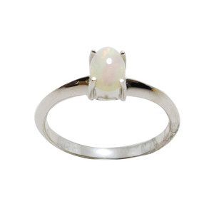 1 BRIGHT STAR STERLING SILVER AUSTRALIAN WHITE OPAL RING