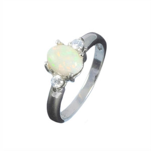 CAPTIVATING SPARK STERLING SILVER AUSTRALIAN WHITE OPAL RING