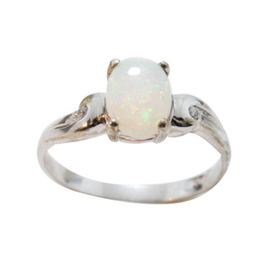 MOON BEAM STERLING SILVER AUSTRALIAN WHITE OPAL RING