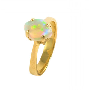 ASTONOSHING BRILLIANCE 14KT GOLD NATURAL AUSTRALIAN WHITE OPAL RING
