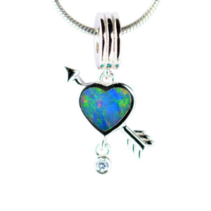 LOVE STRUCK STERLING SILVER NATURAL AUSTRALIAN OPAL NECKLACE