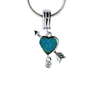 NATURAL LOVE FLASH STERLING SILVER NATURAL AUSTRALIAN OPAL NECKLACE