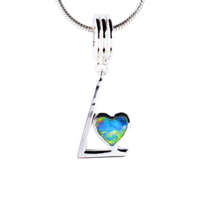 RAINBOW LOVE STERLING SILVER NATURAL AUSTRALIAN OPAL NECKLACE