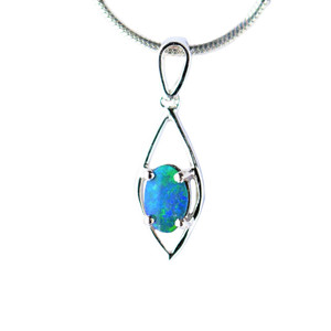 ENCHANTED DIAMOND STERLING SILVER NATURAL AUSTRALIAN OPAL NECKLACE