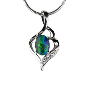 GREEN GALORE STERLING SILVER AUSTRALIAN BLACK OPAL NECKLACE